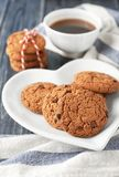 Delicious oatmeal cookies with chocolate chips. On plate Royalty Free Stock Image