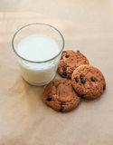 Delicious oatmeal cookies and a glass of milk Stock Image