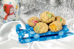 Delicious oatmeal cookies on a sled for Christmas Stock Image