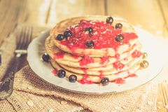 Delicious Oatmeal Pancake royalty free stock images