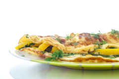 Delicious omelet with peppers and herbs Royalty Free Stock Photography