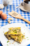 Delicious omlette with sardines. And pine seeds Stock Photos