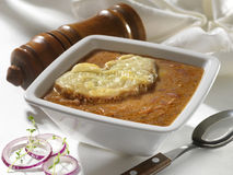 Delicious onion soup in Bahama style Royalty Free Stock Photo