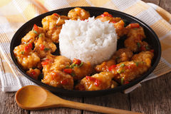 Delicious orange chicken with rice garnish close up. horizontal Royalty Free Stock Images
