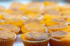 Delicious orange yellow bean cakes / muffins from Lisbon Portugal. Delicious bright traditional orange individual yellow bean cakes / muffins from Lisbon royalty free stock images