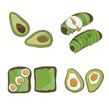 Delicious organic breakfast. oasted bread with avocado and egg. vector illustration