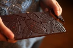 Delicious organic chocolate with original design stock photo