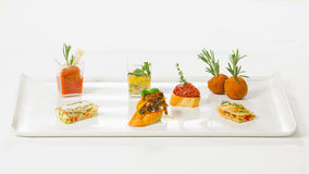 Delicious and original appetizer tapas bar. With an amazing and beautiful serve from the chef Stock Photo