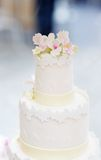 Delicious original white wedding cake Stock Images
