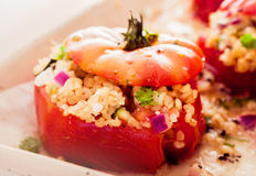 Delicious oven baked stuffed tomatoes Royalty Free Stock Photos