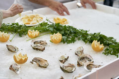 Delicious oysters at market. Detail of delicious oysters in a market in italy Stock Images