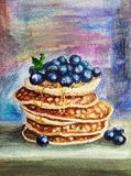 Delicious pancake with blueberries royalty free stock photos