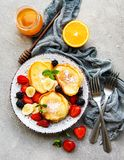 Delicious pancakes with berries royalty free stock photo