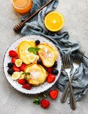 Delicious pancakes with berries royalty free stock photography
