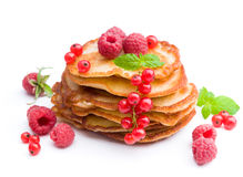 Delicious pancakes with berries stock images
