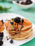 Delicious pancakes with blackberries Stock Image