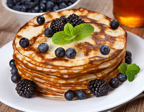 Delicious pancakes with blackberries Royalty Free Stock Photography