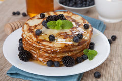 Delicious pancakes with blackberries. Royalty Free Stock Photos