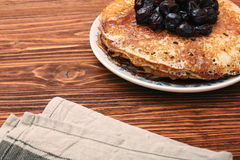 Delicious pancakes with cherry jam Stock Image