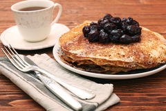 Delicious pancakes with cherry jam Stock Images