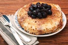 Delicious pancakes with cherry jam Stock Photos