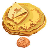 Delicious pancakes closeup on white background Stock Images