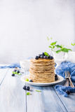 Delicious pancakes with fresh blueberries Royalty Free Stock Photography
