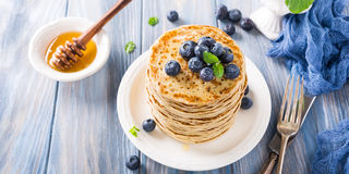 Delicious pancakes with fresh blueberries Stock Photos