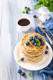 Delicious pancakes with fresh blueberries Stock Photography