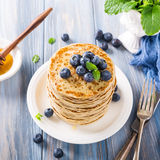 Delicious pancakes with fresh blueberries Royalty Free Stock Images