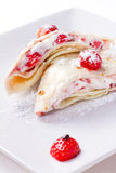Delicious pancakes with fresh strawberries Stock Photo