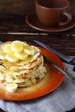 Delicious pancakes with honey and bananas Stock Images