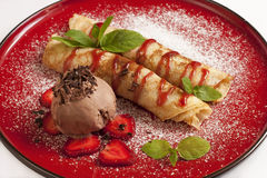 Delicious pancakes with ice-cream Royalty Free Stock Photos