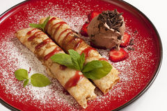 Delicious pancakes with ice-cream Stock Images