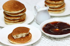 Delicious pancakes with jam Royalty Free Stock Images