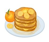 Delicious pancakes or oladyi topped with syrup and fruits lying on plate isolated on white background. Appetizing. Homemade dessert. Tasty cooked sweet vector illustration
