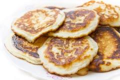 Delicious pancakes. On plate, white background Royalty Free Stock Photos