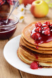 Delicious pancakes with raspberries Royalty Free Stock Images