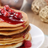 Delicious pancakes with raspberries Royalty Free Stock Image