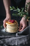 Delicious pancakes with raspberries Stock Photo