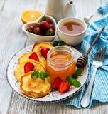 Delicious pancakes with strawberry royalty free stock photo