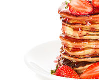Delicious pancakes with strawberry isolated on white Stock Images