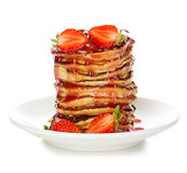 Delicious pancakes with strawberry isolated on white Stock Photo