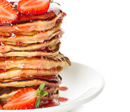 Delicious pancakes with strawberry isolated Royalty Free Stock Image