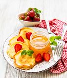 Delicious pancakes with strawberry stock photo