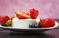 Delicious panna cotta with berry  fruits Stock Photography