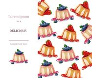 Delicious panna cotta dessert menu page layout Vector Stock Photography
