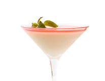 Delicious panna cotta dessert with mint. Stock Photography
