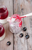 Delicious panna cotta. Empty glass flask with panna cotta and black currants Stock Photography