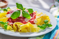 Delicious pappardelle pasta with tomato sauce and basil Royalty Free Stock Image